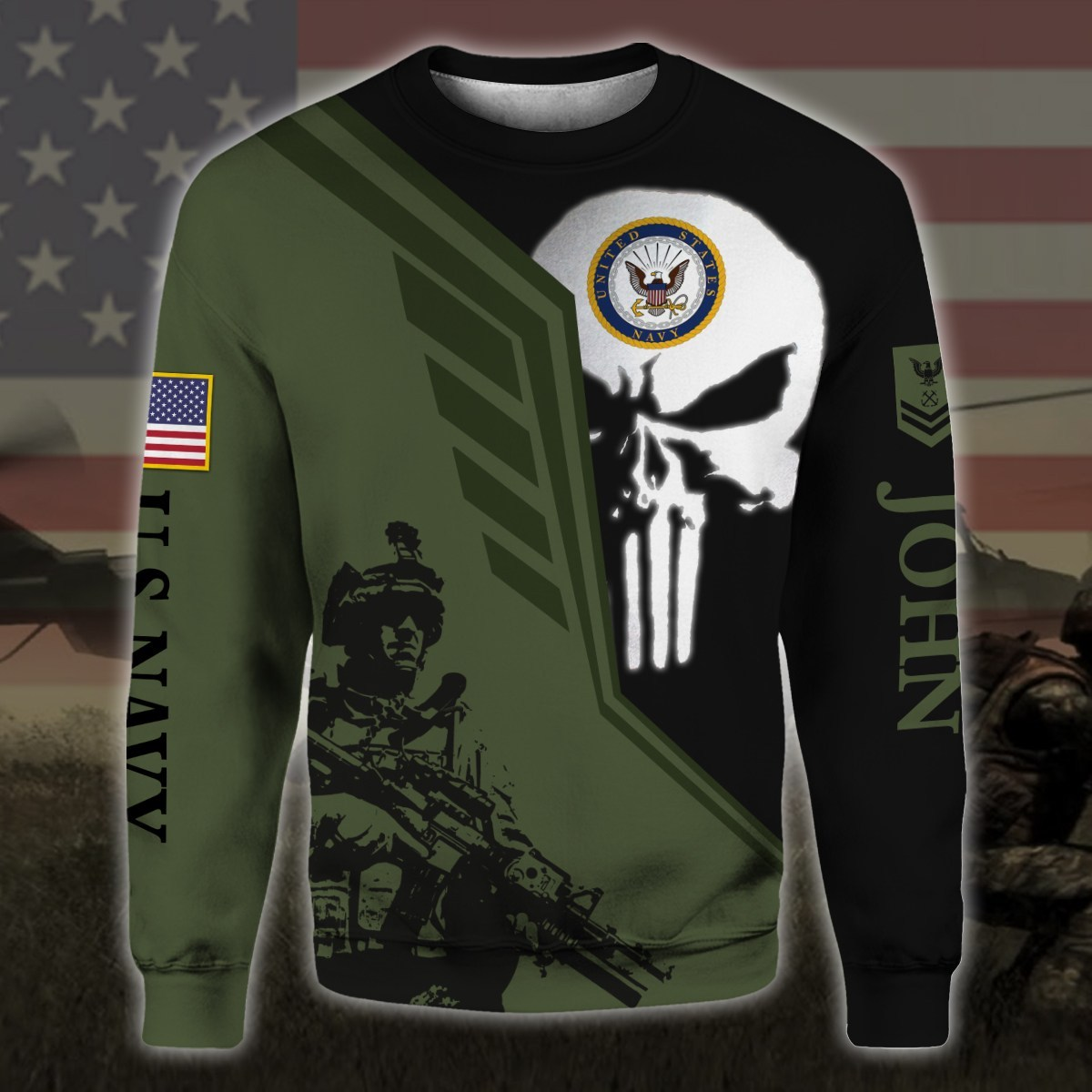 custom your name skull united states navy all over printed sweatshirt