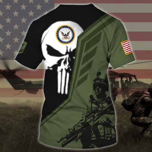 custom your name skull united states navy all over printed tshirt - back