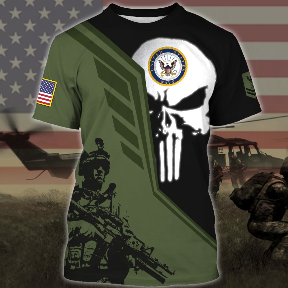 custom your name skull united states navy all over printed tshirt