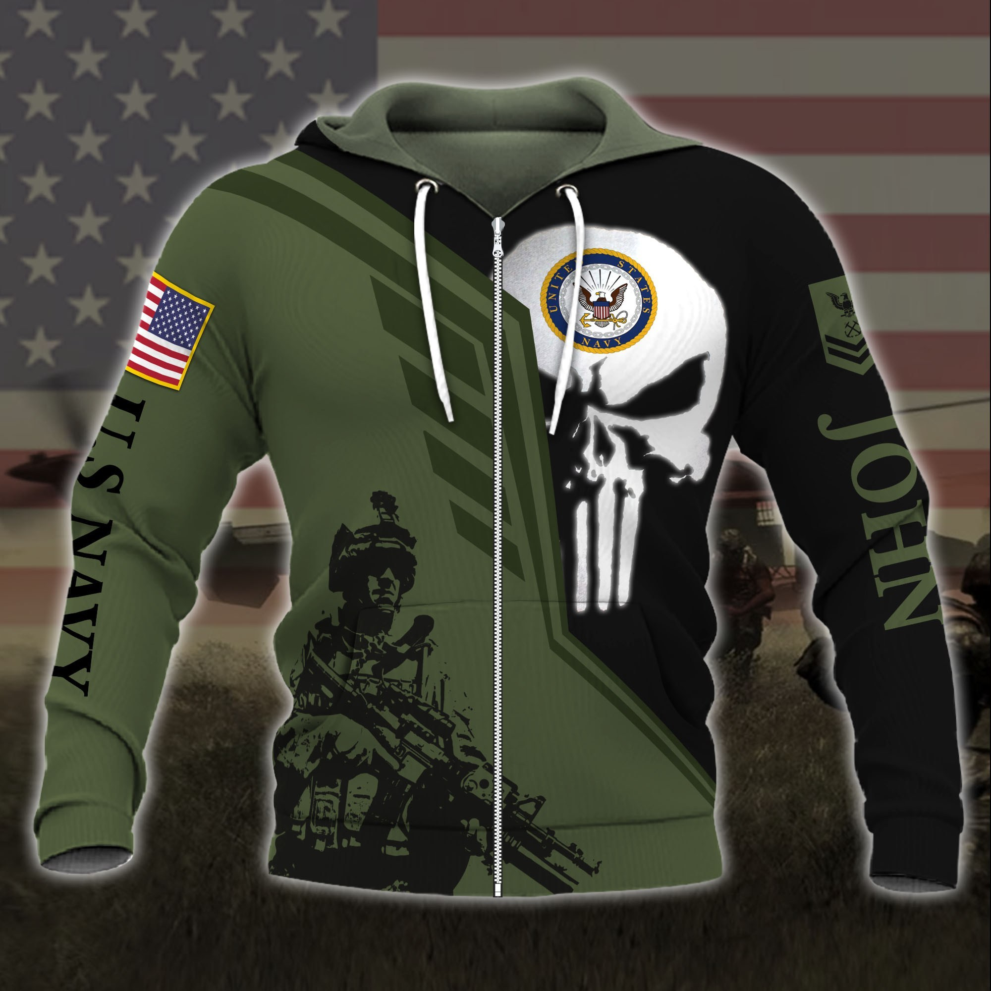 custom your name skull united states navy all over printed zip hoodie