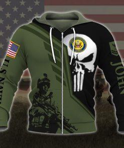 custom your name skull united states navy veteran all over printed zip hoodie