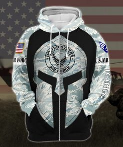 custom your name united states air force all over printed zip hoodie