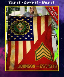 custom your name united states army all over printed blanket