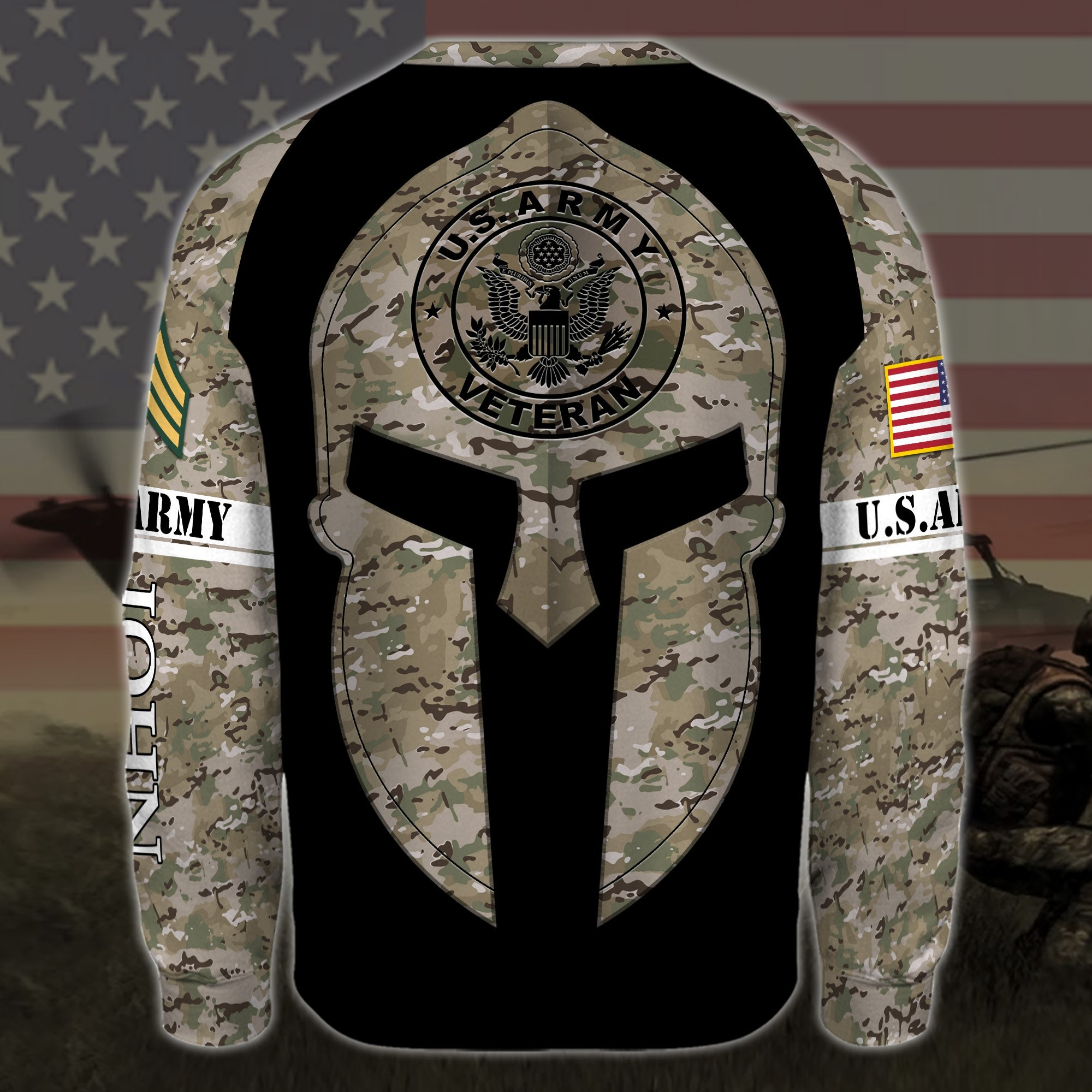custom your name united states army all over printed sweatshirt