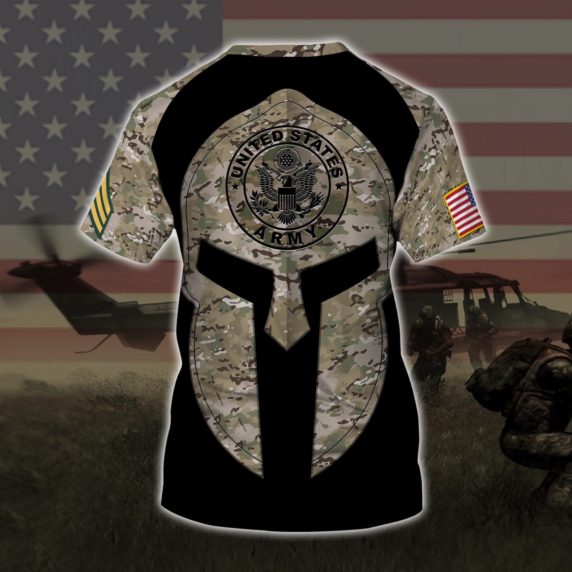 custom your name united states army all over printed tshirt - back