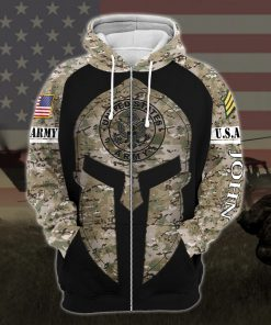 custom your name united states army all over printed zip hoodie