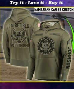 custom your name united states army im retired not expired all over printed shirt