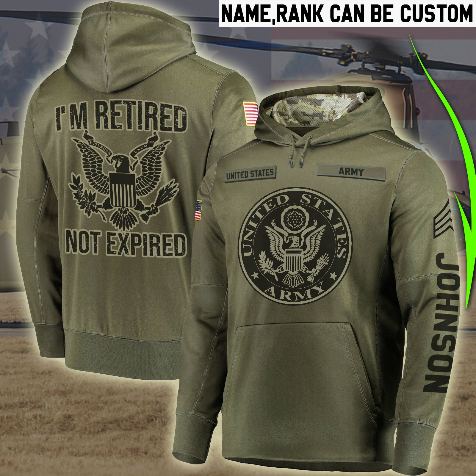 custom your name united states army im retired not expired all over printed shirt 5