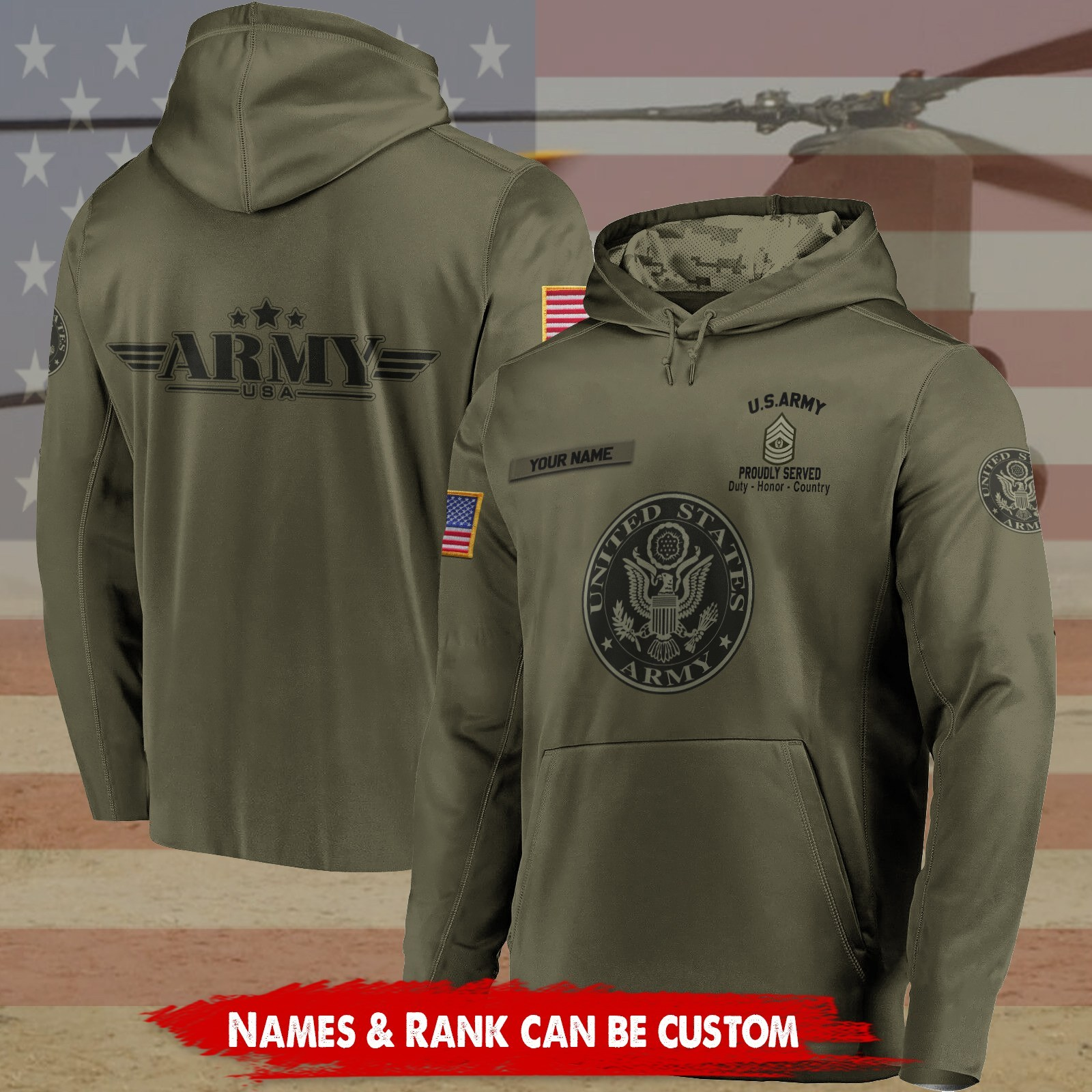 custom your name united states army proudly served all over printed shirt 3