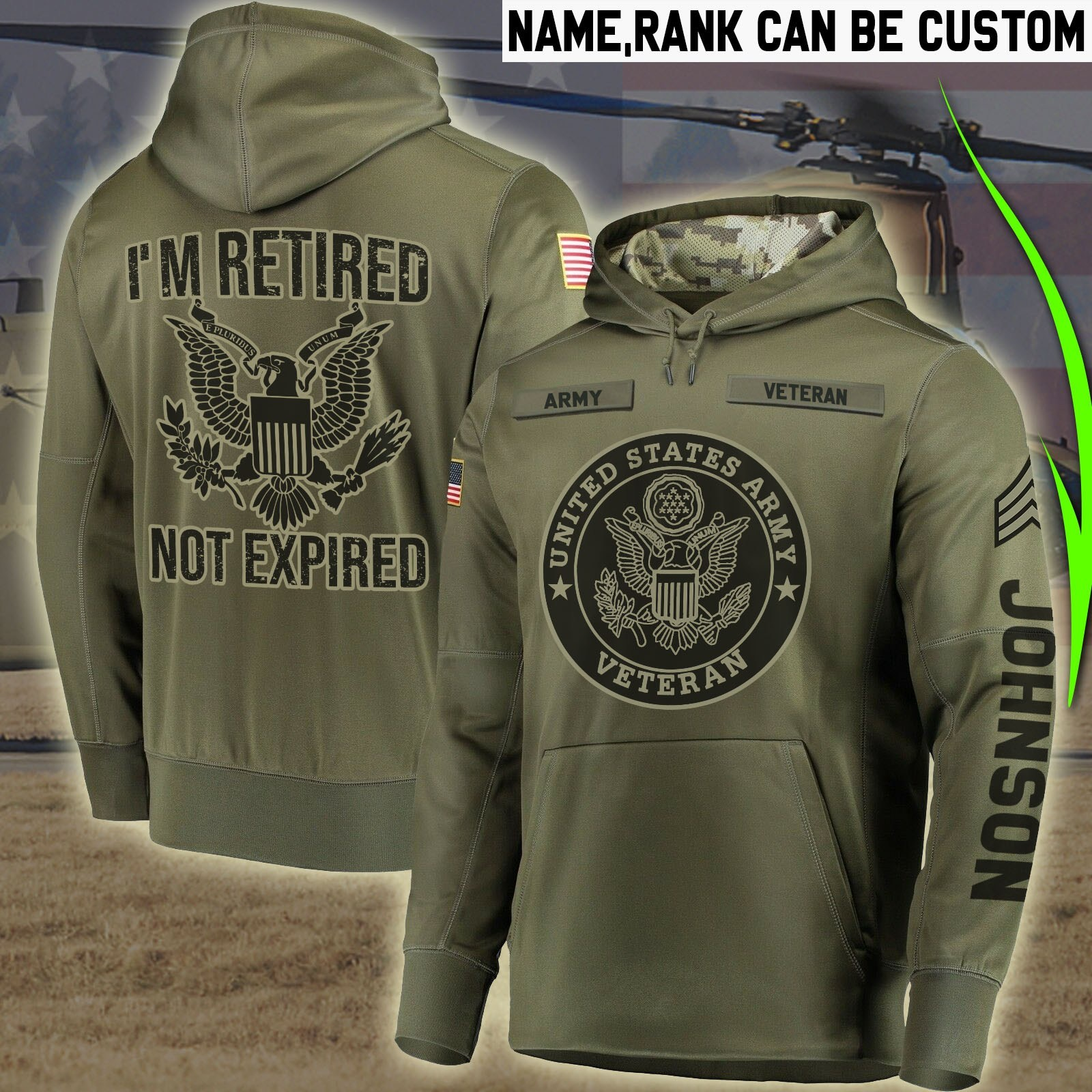 custom your name united states army veteran im retired not expired all over printed shirt 3
