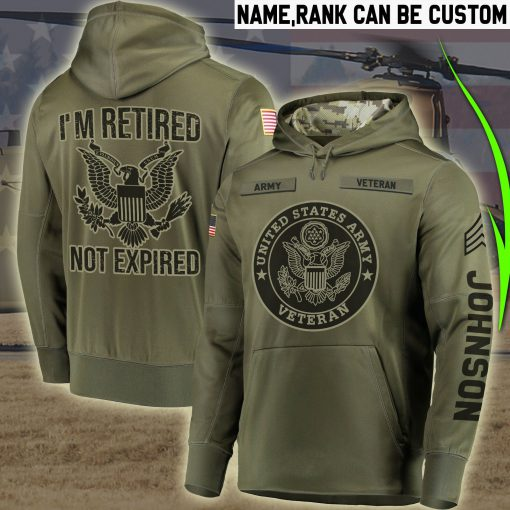 custom your name united states army veteran im retired not expired all over printed shirt 4