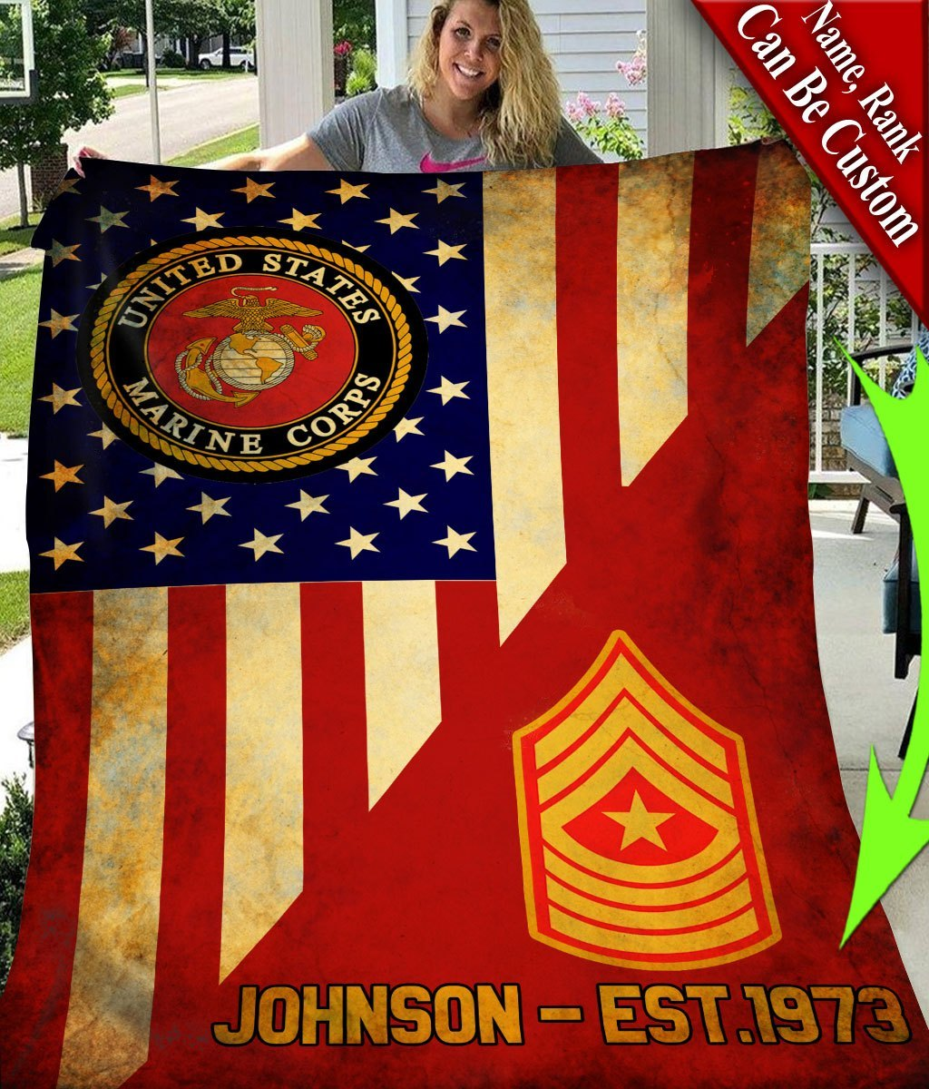 custom your name united states marine corps all over printed blanket 2