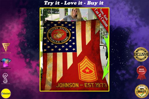custom your name united states marine corps all over printed blanket