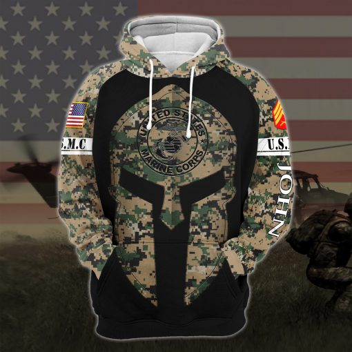 custom your name united states marine corps all over printed hoodie