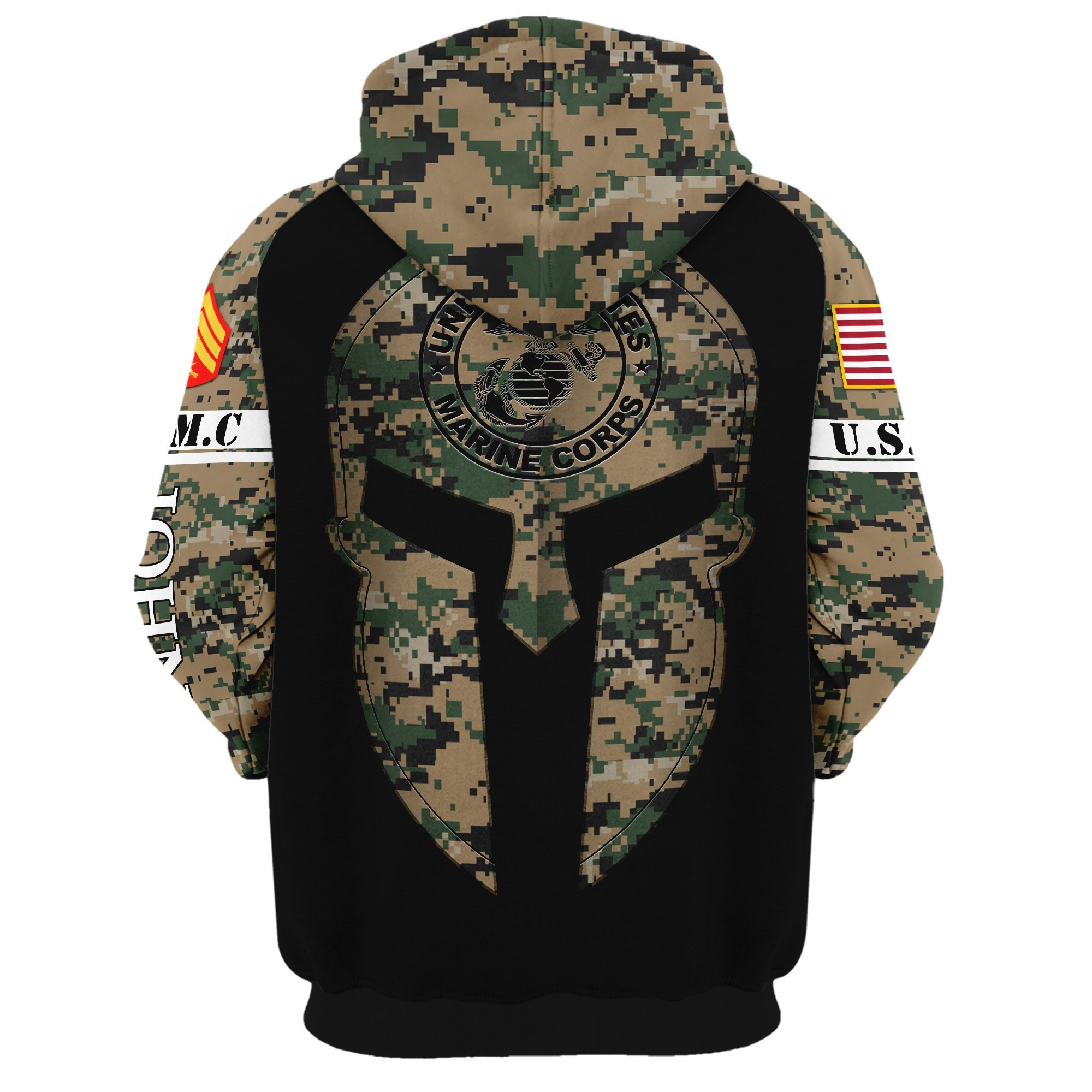 custom your name united states marine corps all over printed hoodie - back