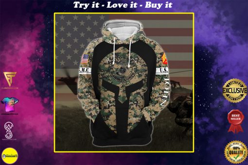 custom your name united states marine corps all over printed shirt