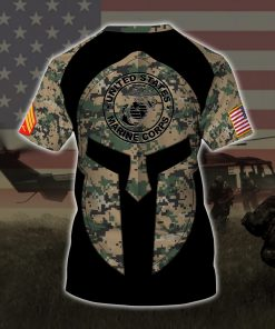 custom your name united states marine corps all over printed tshirt - back