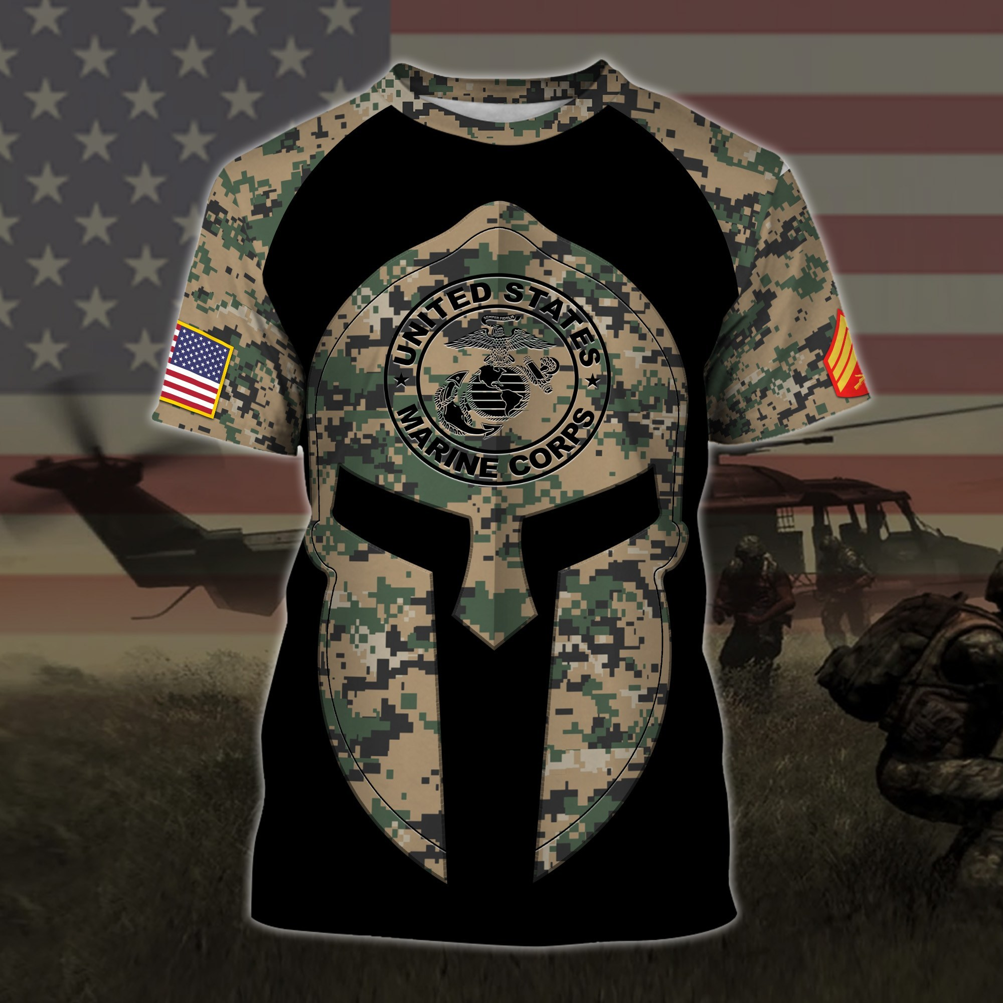 custom your name united states marine corps all over printed tshirt