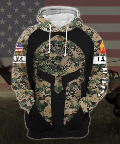 custom your name united states marine corps veteran warrior camo all over printed hoodie