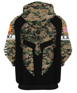 custom your name united states marine corps veteran warrior camo all over printed hoodie - back