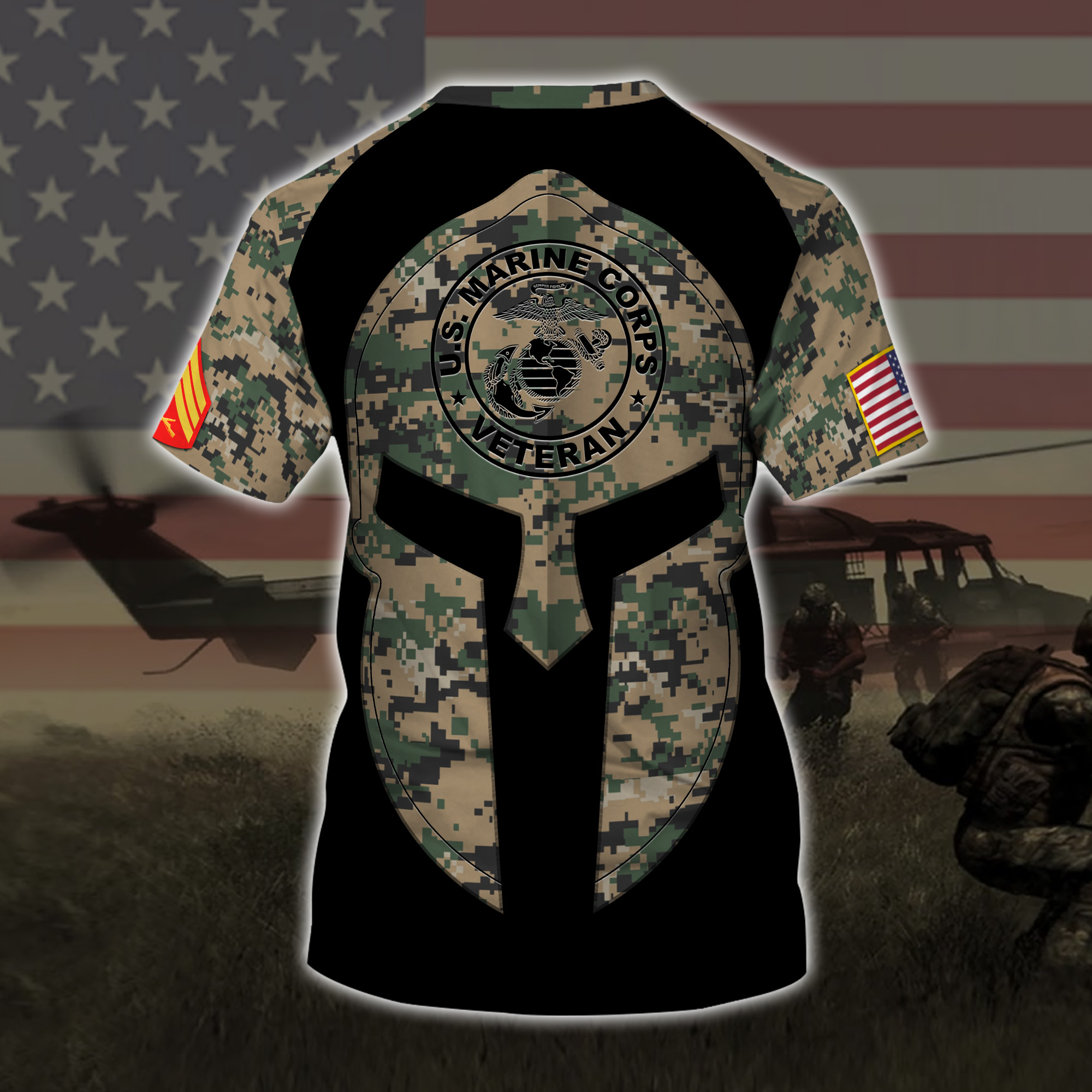 custom your name united states marine corps veteran warrior camo all over printed tshirt - back