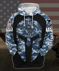custom your name united states navy warrior camo all over printed hoodie