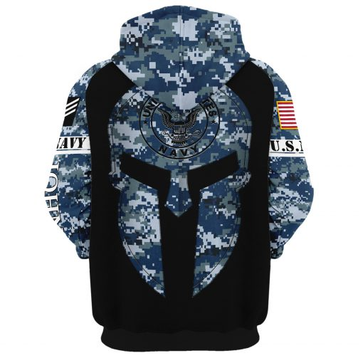 custom your name united states navy warrior camo all over printed hoodie - back