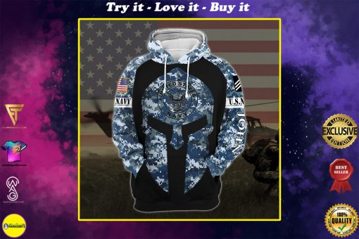 custom your name united states navy warrior camo all over printed shirt