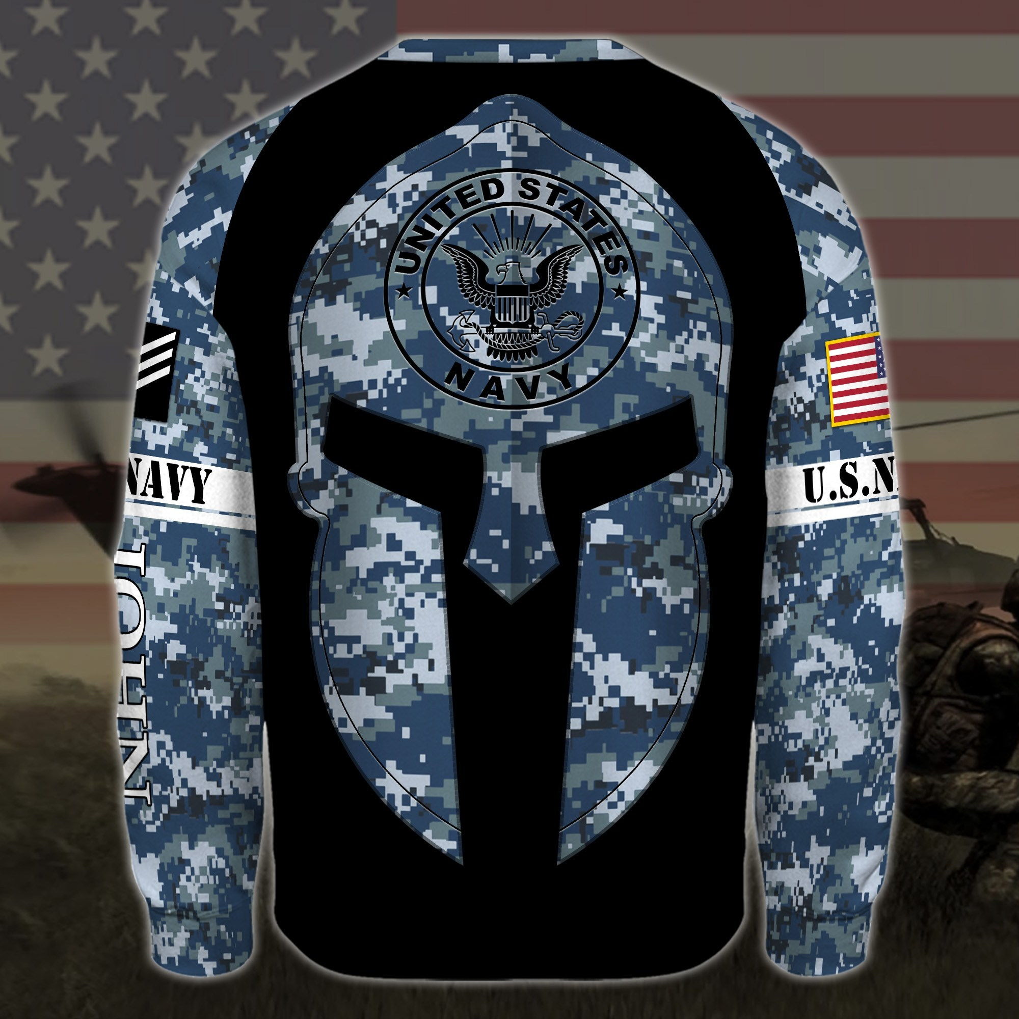 custom your name united states navy warrior camo all over printed sweatshirt - back