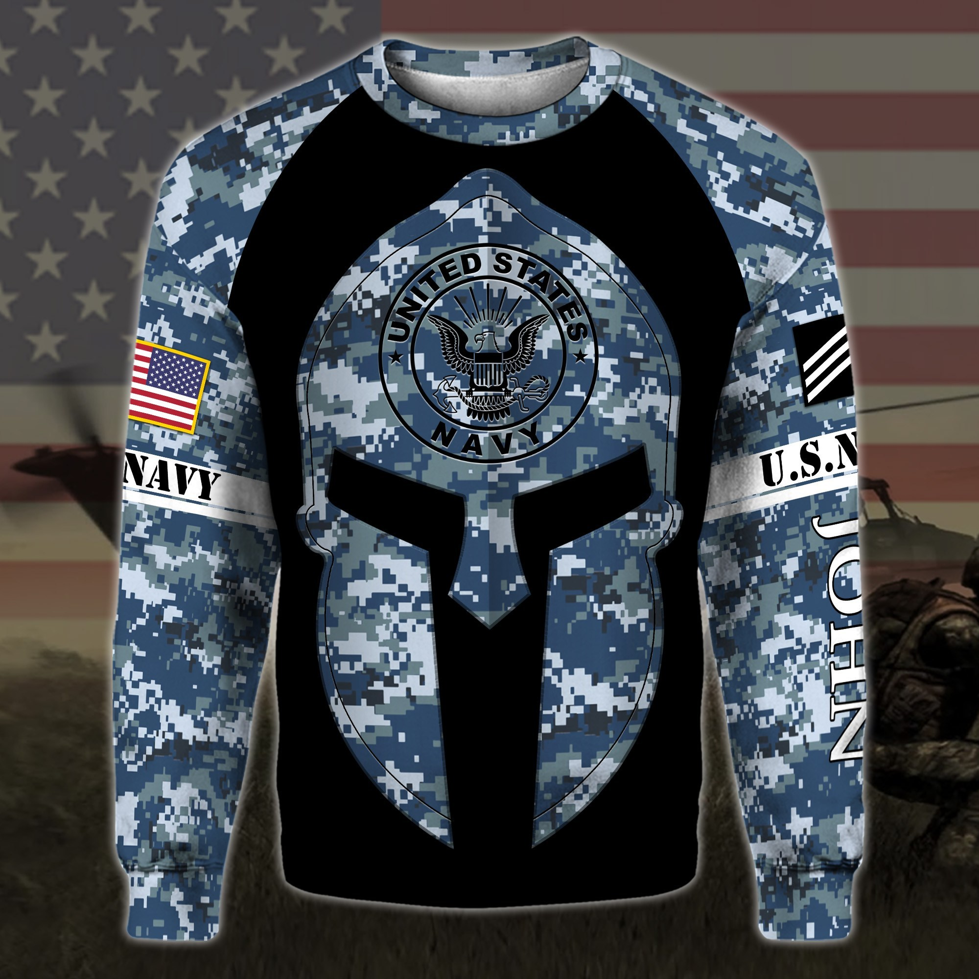 custom your name united states navy warrior camo all over printed sweatshirt
