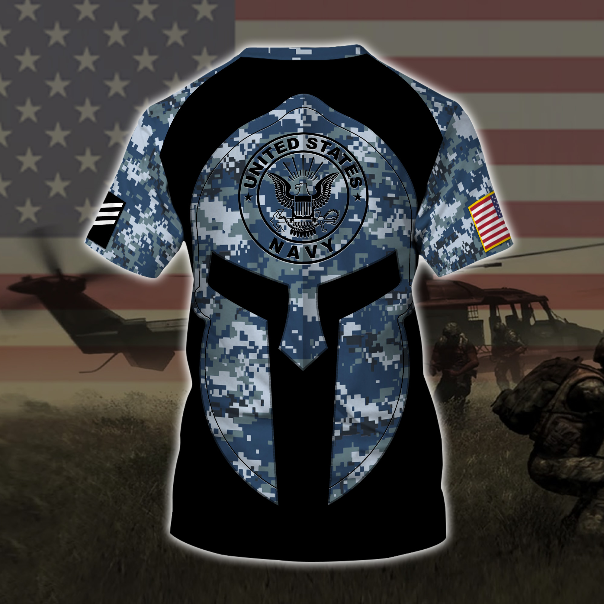 custom your name united states navy warrior camo all over printed tshirt - back