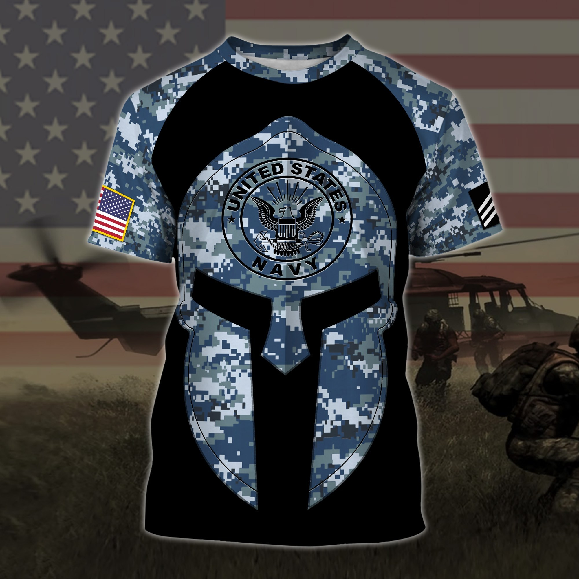 custom your name united states navy warrior camo all over printed tshirt