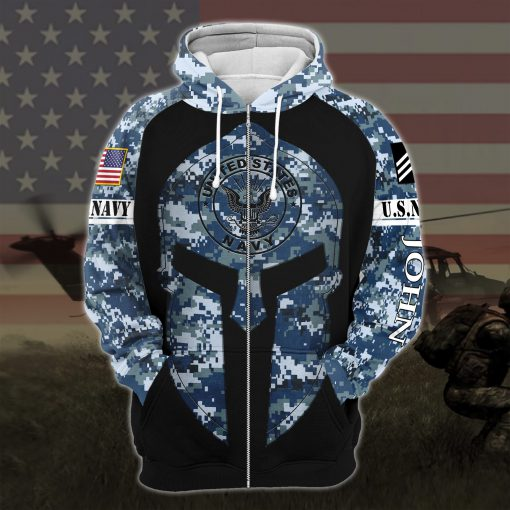 custom your name united states navy warrior camo all over printed zip hoodie