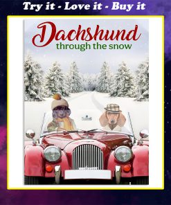 dachshund through the snow christmas time poster
