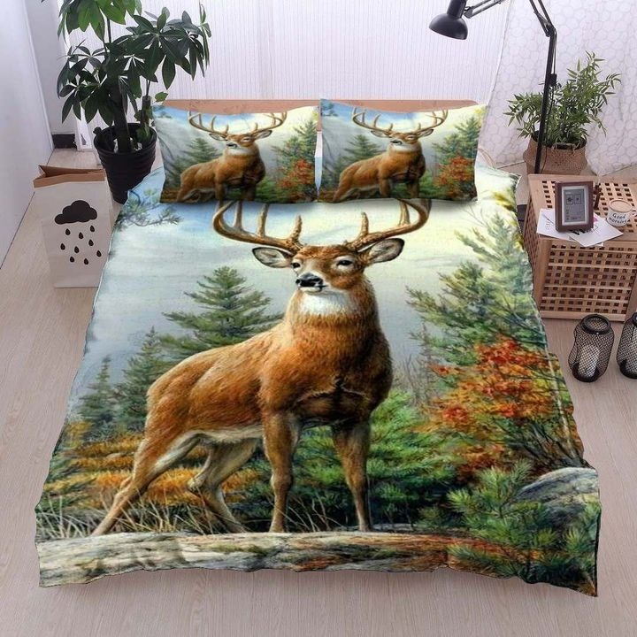 deer in the forest all over printed bedding set 2