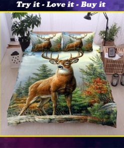 deer in the forest all over printed bedding set