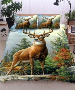 deer in the forest all over printed bedding set 3
