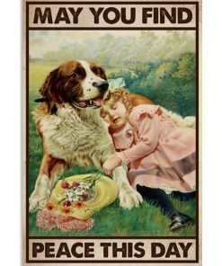 dog and girl may you find peace this day vintage poster 2