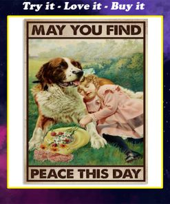 dog and girl may you find peace this day vintage poster
