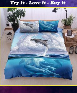 dolphin and the sea all over printed bedding set
