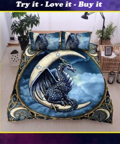 dragon and the moon all over printed bedding set