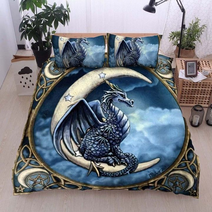dragon and the moon all over printed bedding set 3