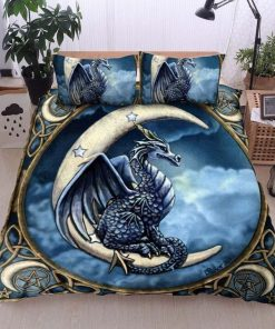 dragon and the moon all over printed bedding set 5