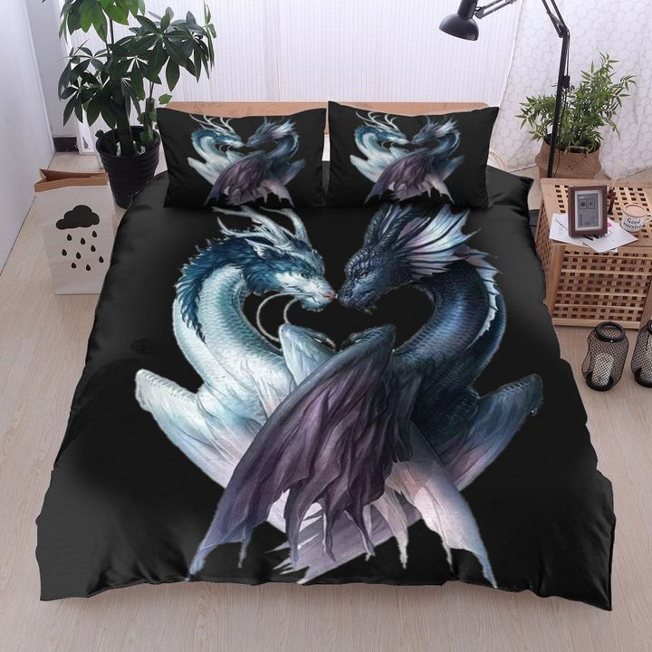 dragon black and white all over printed bedding set 2