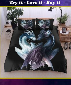 dragon black and white all over printed bedding set