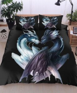 dragon black and white all over printed bedding set 3