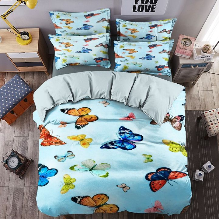 floral butterfly blue all over printed bedding set 2
