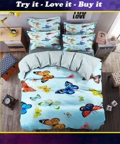 floral butterfly blue all over printed bedding set