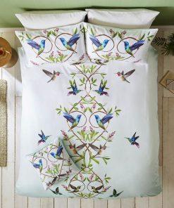 floral hummingbird all over printed bedding set 3