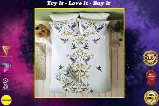 floral hummingbird all over printed bedding set